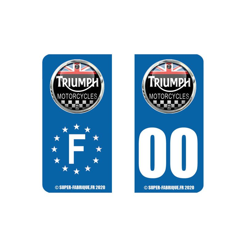 Stickers plaque immatriculation moto triumph