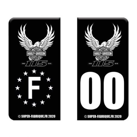 Stickers plaque immatriculation Aigle Harley Davidson 105 ans
