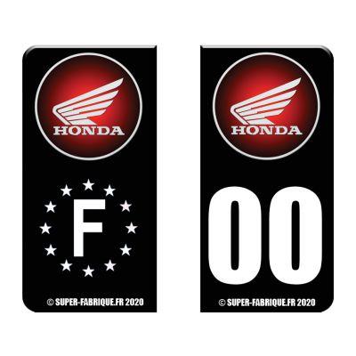 Autocollant plaque immatriculation moto Honda