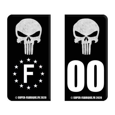 Stickers plaque immatriculation moto Punisher