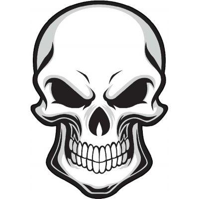 Autocollant tête de mort casque moto