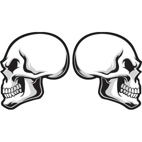 Lot de deux stickers tete de mort pour casque de moto