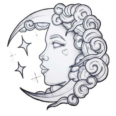 Stickers visage femme lune