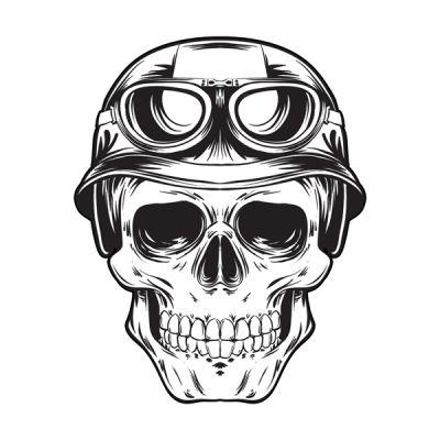 Stickers tête de mort Motard