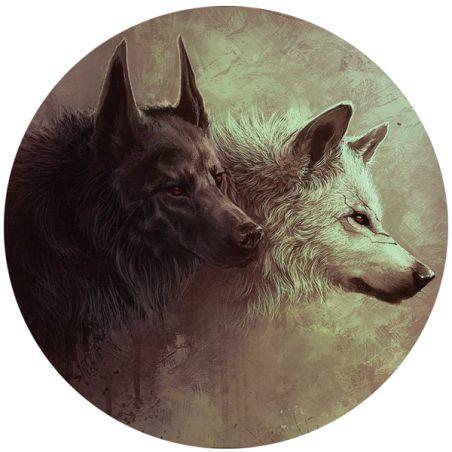 Stickers deux tetes de loup pour deco casque de moto