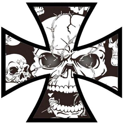 Rétro croix de fer tete de mort