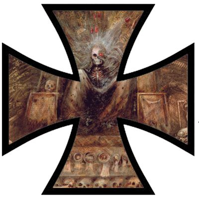 Croix de fer rétro réfléchissante pour décorer casque de moto